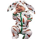 Weant Baby Strampler Mädchen 0-6 Monate Winter Langarm Overalls mit Hasenohren Karotten-Print Fleece Hoodie Bodysuit Jungen Footed Jumpsuit Unisex Set Säugling Spielanzug Baby-Nachtwäsche