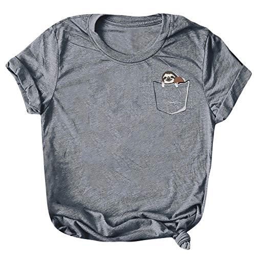 Xmiral T-Shirt Damen Kurzarm Oansatz Tops Sommer Gedruckt Niedlich Shirts Bluse Mode Chic Casual Wild Elegante Sweatshirt Für Partyabend Hochzeit Sandy Beach(A Dunkelgrau,5XL)