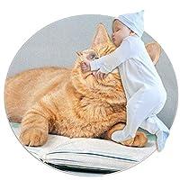 エリアラグ軽量 眼鏡をかけて本を読んでいる猫 フロアマットソフトカーペット直径39.4インチホームリビングダイニングルームベッドルーム