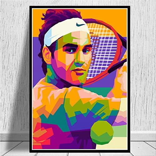 MZCYL Puzzle 1000 Pezzi Assemblaggio di Opere d'Arte Roger Federer Giocatori di Tennis Sport Star Art Olio Vivere per Adulti Giochi per Bambini Giocattoli Educativi MA4681