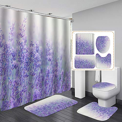 Fashion&Man 4PCS/Set Flower Shower Curtain Floral Bath Curtain Waterproof Polyester Shower Curtain Bathroom Rugs Bath Mat Set Toilet Lid Cover Elegant Bathroom Decor+12 Hooks, 72x72in, Lavender