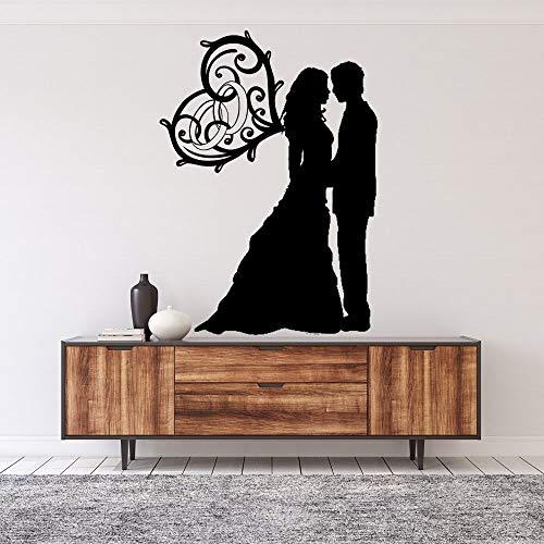 Dulce pareja novia con corazón ala pared calcomanía pegatina boda pegatina hogar dormitorio pared arte decoración