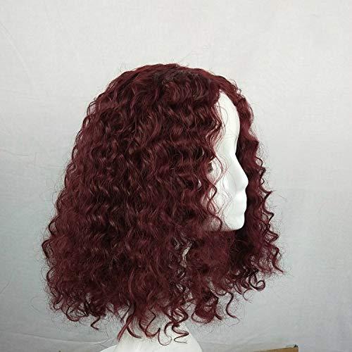 Perruque courte bouclée perruque perruque petit rouleau tête explosive couverture de tête en fibre chimique vin rouge