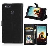 Funda Xiaomi Mi 5X A1 Case,Bookstyle 3 Card Slot PU Cuero Cartera para TPU Silicone Case Cover-Negro