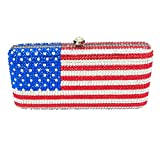 Boutique De FGG National Flag Crystal Clutch Purses Evening Bags and Handbags for Women Formal Party Rhinestones Bags (American)