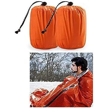 Zmoon Emergency Sleeping Bag 2 Pack Lightweight Survival Sleeping Bags Thermal Bivy Sack Portable Emergency Blanket Survival Gear for Camping, Hiking, Outdoor, Activities