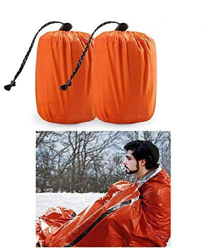 Zmoon Emergency Sleeping Bag 2 Pack Lightweight Survival Sleeping Bags Thermal Bivy Sack Portable Emergency Blanket Survival Gear for Camping, Hiking, Outdoor, Activities