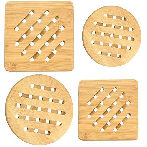 RMENOOR 4 Stück Topfuntersetzer Hitzebeständig Natur Waschbar Bambus Untersetzer Quadratisch und Rund Pfannenuntersetzer mit Abtropfgestell für Küche Schüssel Töpfe Teller