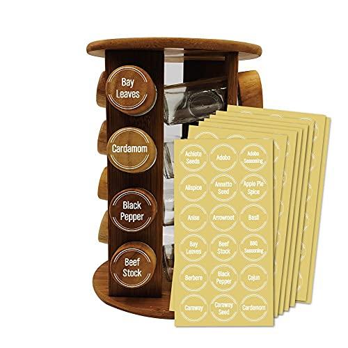 Etiqueta de Especias,144 PCS Etiquetas Adhesivas para Tarros Etiquetas Redondas Preimpresas Etiquetas para Contenedores de Despensa Tarros de Almacenamiento de Cocina de 1.5 Pulgadas
