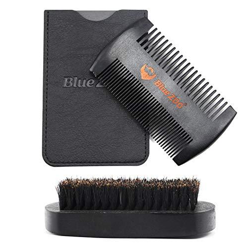 barbe kit,Ciseaux Barbe sanglier soies moustache barbe brosse avec bois double côté peigne toilettage pour les hommes pères valentines jour de Noël cadeaux noir