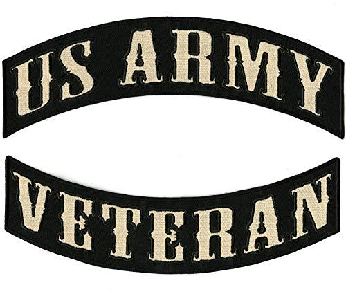 Parche de Veteran Rockers del Ejército de los Estados Unidos | Parches bordados grandes para chaqueta de moto militar para planchar en 2 piezas. Set – por Nixon Thread Co. (12 pulgadas)