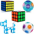 KidsPark Cube Set 5 Pack 3D Puzzle Toys 3X3 + 4X4 Speed Cube + White Magic Rainbow Ball+ Luminous Magic Rainbow Ball + Magic Snake Smooth Magic Cubes for Kids & Adults, PVC Sticker Black by KidsPark