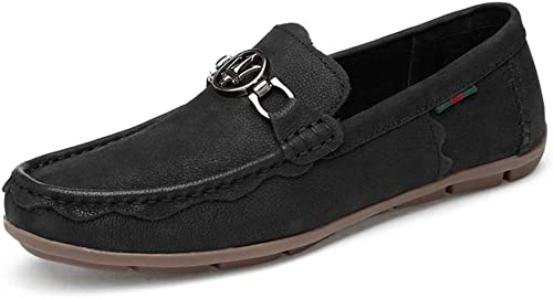 GPF-fei Herrenschuh Leder-Fahrschuh Loafers & Slip-One Lazy Schuhe Runde Schuhe Peas Schuhe Comfortable Fashion Breathable Leisure,schwarz,44