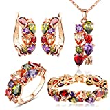 YouBella Jewellery Set Multi-Color AAA Swiss Zircon Rose Gold Crystal Necklace Pendant Ring Bracelet Bangle and Earrings Jewellery Combo for Girls and Women (Pendant, Earrings, Ring and Bracelet) ultrasonic jewelry cleaners Mar, 2021
