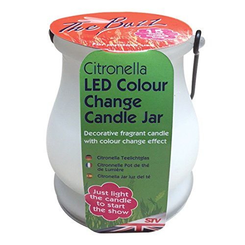 The Buzz Citronella LED Colour-Change Candle Jar (Heat Activated LED Changes Colour, 15 Hours Burn Time for Outdoor, Garden Use)