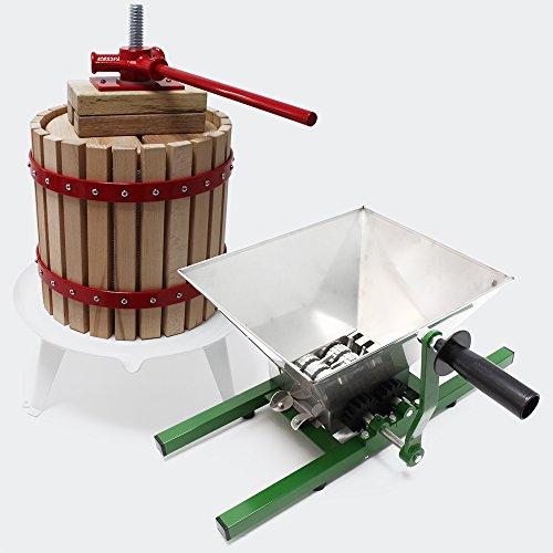 Wiltec Obstpresse 18l inkl Presstuch und Obstmühle 7l zur Maischeherstellung