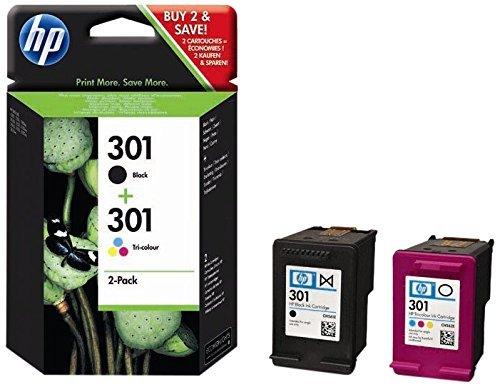 Cartucce d'inchiostro HP 301nero e tricolore originali, confezione da 2 multicolour