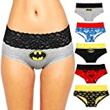 Andyshi Women's Underwear Superman Cartoon Print Lovers Style Sexy Underwears Panties Lace Trim Lady's Briefs 5 PCS