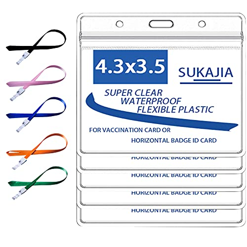 """SUKAJIA Card Holder 4"""" X 3"""" Plastic Clear Record ID Name Tag Badge Card Protector with Lanyard and PVC Sleeve Waterproof Type with Resealable Zip( Large)(5)"""