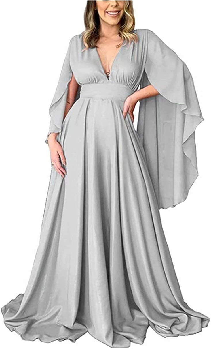 EEFZL Women's Deep V-Neck Sexy Prom Party Dresses Cape Sleeve Backless Formal Evening Gowns