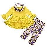 Janly - Set di vestiti e set per bambine, con stampa leopardata, motivo floreale, con gonna+pantaloni+fasce per capelli, per Natale invernale da 12 a 18 mesi, colore: giallo