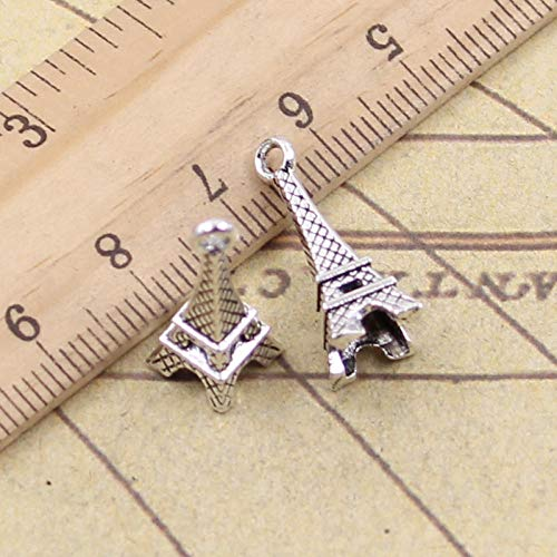 WANM 25Pcs Charms Tower Paris 23X9X9Mm Tibetan Pendants Crafts Making Findings Handmade Antique Diy Jewelry