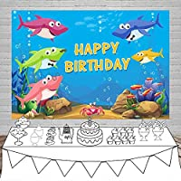 Assanu お誕生日おめでとう背景5x3ft漫画サメビニール写真の背景水中世界の魚の泡ベビーシャワーの子供新生児子供パーティーバナー肖像画撮影写真の小道具カスタマイズ可能