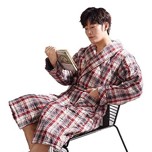 LIZANAN Hombres Largo Albornoz Inicio Ropa de Invierno Caliente Grueso paño Grueso y Suave Albornoz Kimono Masculino Bata se Puede Usar Fuera de Homewear, L Bata de baño