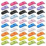 CENBEN 50 pcs Pinza Chupete Clips para Chupeteros para Niños Clips 2.5 * 4cm para Fijar Chupete de Bebé Pinzas de Plástico 10 Colores Clips De Babero de Bebé