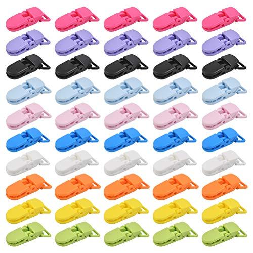 CENBEN Clip per Ciuccio da 50 Pezzi Clip per Ciuccio per Bambini Clip per Ciuccio da 2,5 * 4 cm per Fissaggio Pinzette in Plastica per Ciuccio per Bambini 10 Colori Clip per Bavaglino