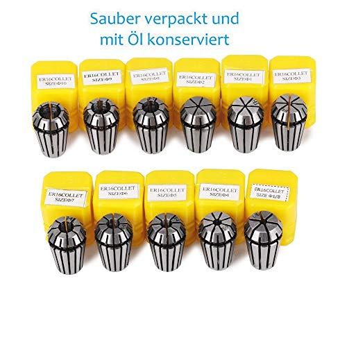 11Pcs ER16 Spannzangen Set, ER16 Federzange 1-10mm ER16 Spannzangenfutter für CNC-Graviermaschine & Fräswerkzeughalter