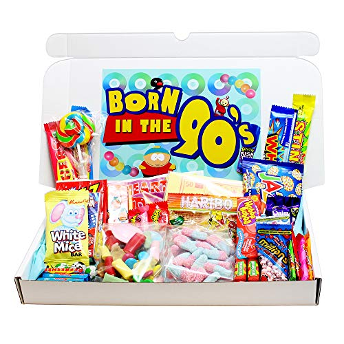 Born in the 90s Retro Sweets Gift Box. For anyone born in the decade that brought us Brit Pop and Tamagotchis