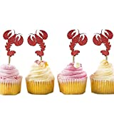 24Pcs Lobster Cupcake Toppers, Crawfish Cupcake Toppers, She Found Her Lobster, Glitter Cupcakes for Friends themed bachelorette party, Bridal Shower, Kids Sea Animal Lobster Party Decoration Supplies