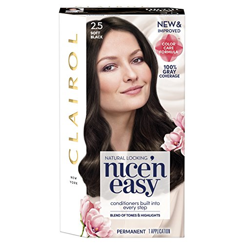 Clairol Nice'n Easy Permanent Hair Color, 2.5 Soft Black, 1 Count