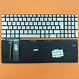DEUTSCHE - Silber Tastatur Keyboard Ohne Rahmen mit Beleuchtung für ASUS GL752VW