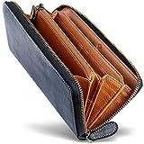 男のブライドルレザー本革長財布 ブライドルレザー ラウンドファスナー 長財布 内装外装本革 2カラー メンズ 財布 GRACIA グラシア (ブラック/ブラウン)