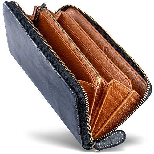 [男のブライドルレザー本革長財布] ブライドルレザー ラウンドファスナー 長財布 内装外装本革 2カラー メンズ 財布 [GRACIA] グラシア (ブラック/ブラウン)
