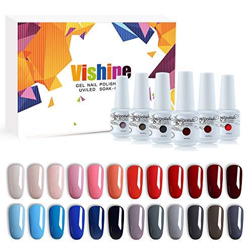 Vishine lot de 24 couleurs Vernis Gels Semi permanent Vernis à Ongles Gel UV LED Soak Off Nail Art Kit Manicure pour Ongle idéal cadeau 8ml