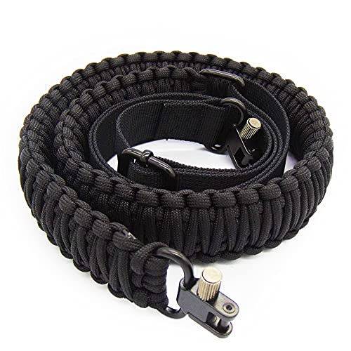 N&G Outdoors Paracord Gun Sling,Equipped with Adjustable QD Retaining Ring, for Hunting and Shooting(Nylon Black)