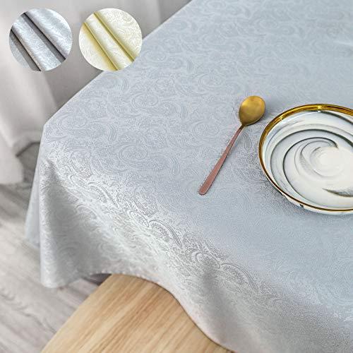 KINLO Tischdecke grau Tischtuch abwaschbar Tischwäsche Seidenglanz Tafeldecke Fleckabweisende 120 x 260 cm (3,1 ㎡) pflegeleicht Tafeltuch