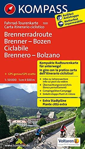 Fahrrad-Tourenkarte Brennerradroute Brenner - Bozen - ciclabile Brennero - Bolzano: Fahrrad-Tourenkarte. GPS-genau. 1:50000. (KOMPASS-Fahrrad-Tourenkarten, Band 7051)