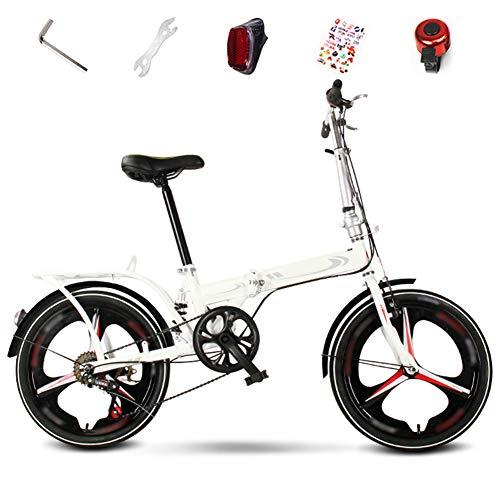 YRYBZ Biciclette Pieghevoli, 20 Pollici BMX Bici Adulto, 6 velocità Mountain Bike Pieghevole Uomo e Donna, Bicicletta Unisex/Bianco