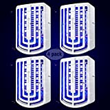 YUNLIGHTS Bug Zapper Indoor Mosquito Trap 4 Pack Plug-in Electric Fly Killer Trap with 10 LEDs Night Light for Home, Noiseless Electronic Mosquito Killer Eliminates Gnats Moths Flying Pests