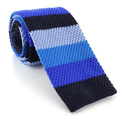 Une cravate étroite en soie tricotée à rayures bleues marine Michelsons