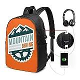 WEQDUJG Mochila Portatil 17 Pulgadas Mochila Hombre Mujer con Puerto USB, Insignia de Bicicleta de montaña Mochila para El Laptop para Ordenador del Trabajo Viaje