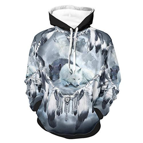 Niersensea Sudadera con capucha para niños, grande, diseño de lobo, atrapasueños y luna, con bolsillos, Unisex adulto, Blanco, large