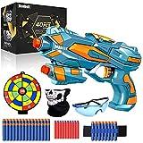 Pistola de Juguete para Nerf Flechas, Pistola de Dardos de Espuma + 60 Balas de Espuma + Gafas Protectoras, Juguete de Armas Juego de Tiro Infantiles, Regalos de Cumpleaños para Niños de 6 a 12 Años