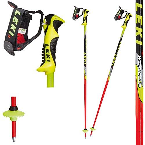 LEKI Kinder Skistock WC Lite-SL, Base Color: Neon Red/Design: Neon Yellow-Black-Sil-White-Anthr, 105 cm