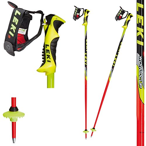 LEKI Kinder Skistock WC Lite-SL, Base Color: Neon Red/Design: Neon Yellow-Black-Sil-White-Anthr, 105 cm