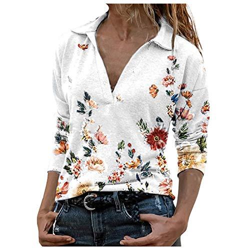 Your New Look Degradado de flores retro para mujer, estampado de flores, cuello en V, manga larga, jersey, blusa Blanco XXL